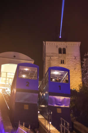 Zagreb, Croatia - 19 March, 2017 : Funicular during night in the center of Zagreb during Festival of lights.
