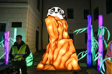 Zagreb, Croatia - 24 March, 2019 : Illuminated sculptures of pandas in the woods during Festival of lights in Zagreb. Editorial
