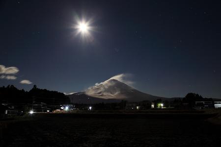 starlit sky: mt fuji and moonlight
