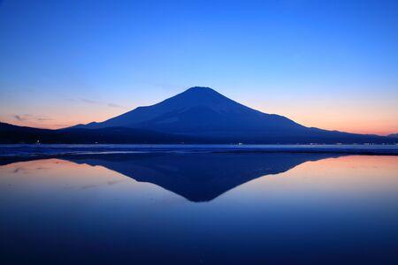 inverted: Inverted image of Mount Fuji at dusk
