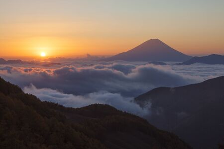 Mt. Fuji and sunrise