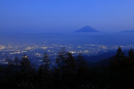 View of Mt. Fuji seen from the Amari mountain and nirasaki-Shi