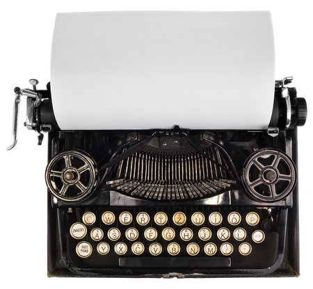 sheets: Antique typewriter with white blank sheet of paper, top view on a white background, view of the mechanism and view of the old font. The Possibility of applying or description on the card.