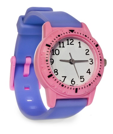 jewellry: Pink watch with a purple stripe. Wristwatch on a white background with slight reflection.