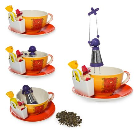 Empty coffee, tea cup with purple silver infuser in the shape of a girl on a chain. Storage on two candy and sweets, spilled tea. Cup and saucer decorated with hearts in color yellow, orange, red. Container for sweetmeats in white. Candy in yellow, cream,