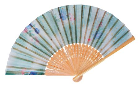 Japanese fan decorated with flowers and stars in blue, green . The fan made of wooden spread on a white background.