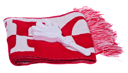 Set of gadgets, Kit, Polish Football Fan scarf and white handle clapping. The composition isolated on a white background. Stock Photo