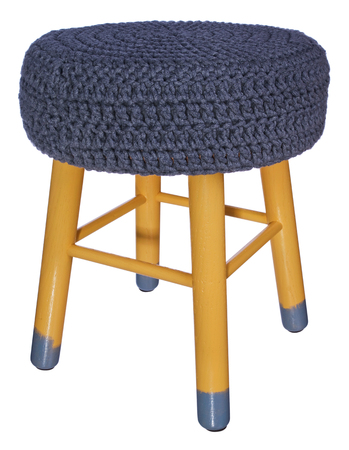Handmade stool. Hand painted wooden chair legs yellow and gray. Round seat covered with  sc 1 st  123RF Stock Photos & Handmade Stool. Hand Painted Wooden Chair Legs In White Gray ... islam-shia.org