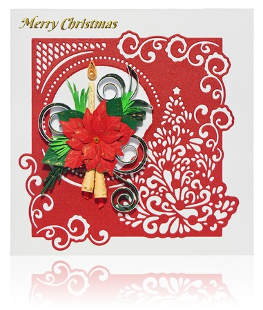 handmade christmas card postcard with merry christmas greetings hand decorated card with flower poinsettia