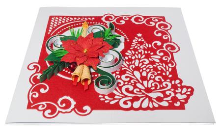 Handmade christmas card postcard with merry christmas greetings handmade christmas card postcard with merry christmas greetings hand decorated card with flower poinsettia m4hsunfo