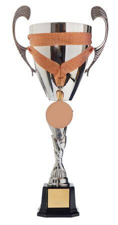 Winners cup, silver, gold prize in the competition with a medal.. Trophy in championships isolated on a white background.. There is a place for the title of the winner.
