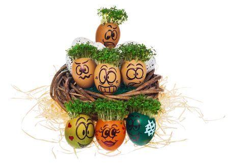 Handpainted Easter eggs in funny scared and surprised cartoonish faces with cress like hair. Handmade eggs in nest made of wicker hay, straw. The watercress stylized for the hairstyle of the character.