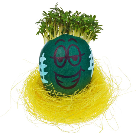 Easter egg painted in a funny smiley face and colorful patterns in a yellow birds nest with cress like hair. The watercress stylized for the hairstyle of the character. Egg in multicolored patterns and decors  on a white background with a slight reflection. Stock Photo
