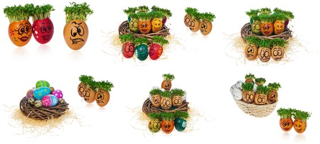 Handpainted Easter eggs in funny scared and surprised cartoonish faces in the basket with cress like hair. Handmade multicolored eggs look at the outstanding foreign individual egg. The watercress stylized for the hairstyle of the character.