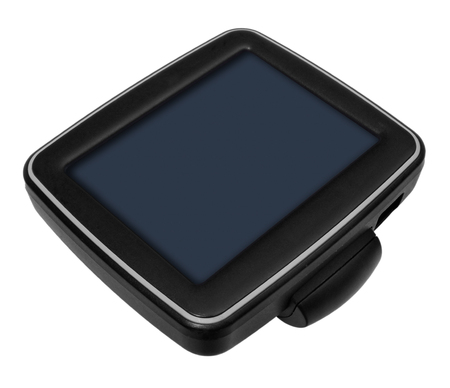 GPS car navigation with handle. Black electronic map device with blue screen and silver border. Satellite navigation device on white background.