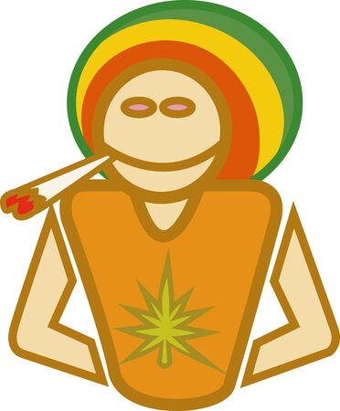 Illustration of a ganja man smoking a joint illustration