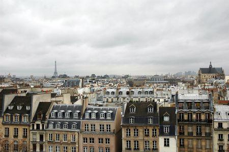 Cloudy skyline of Paris photo