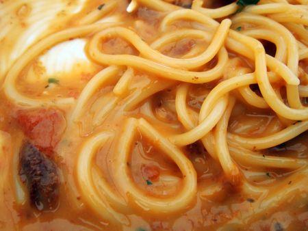 flavoured: Sea urchin sauce flavoured pasta Stock Photo