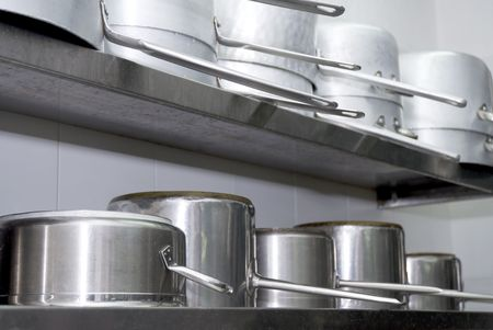 pots in a fournished kitchen restaurant  photo