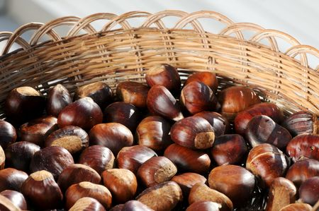 chestnuts framed in a traditional basket photo