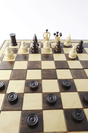 draughts pieces challenging chess pieces  photo