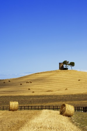 Hay Bales on a yellow field in the tuscany country Stock Photo - 6988998