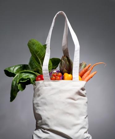 reusable: full of vegatables cotton shopping bag
