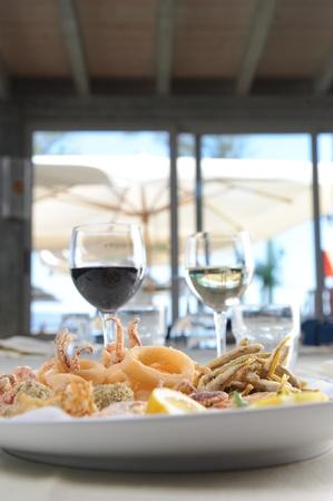 italian sea: sunny day restaurant fried mix Stock Photo