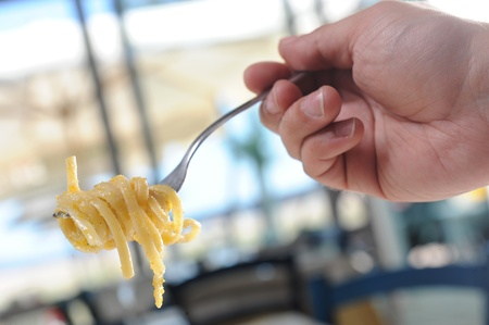 short pasta: pasta forkful in a restaurant