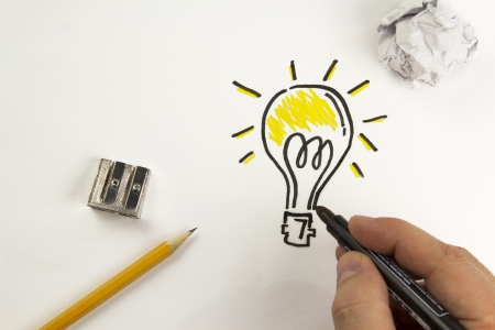 ingenuity: Bulb painted on paper with black marker