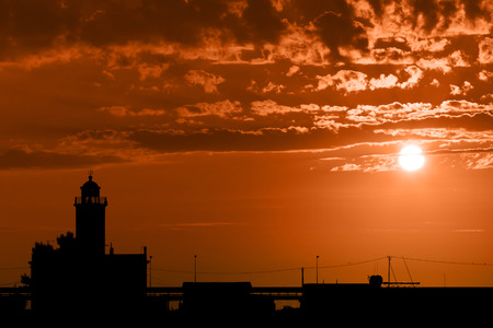 Silhouette of the pier Manfredonia (FG) Italy photo