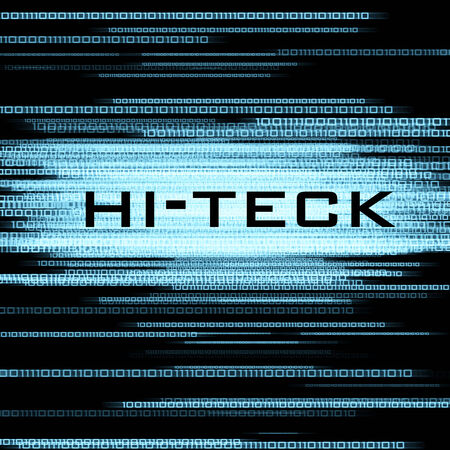 teck: hi-teck and binary code on black background