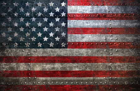 steel background: USA flag textured United Stats of America