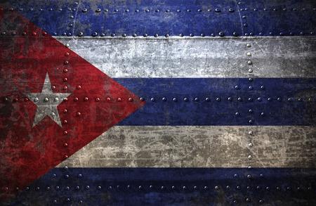 cuba flag: Grungy Cuba  flag On a  Metal Texture