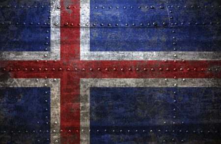 iceland flag: Grungy Iceland  flag On a  Metal Texture