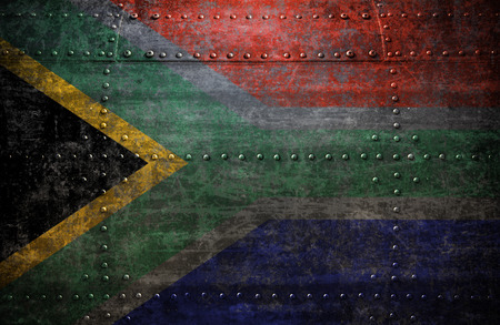 south africa flag: Grungy South Africa flag On a  Metal Texture Stock Photo