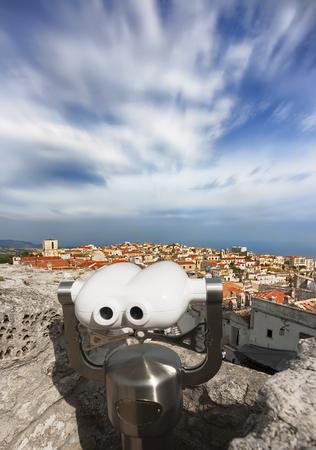 Panoramic view of Monte SantAngelo, Gargano, Apulia, Italy.