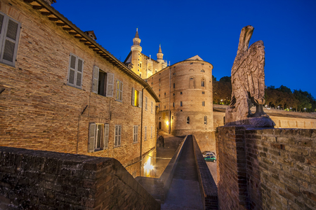 urbino: Narrow alley in the center of the city of Urbino in the evening Editorial