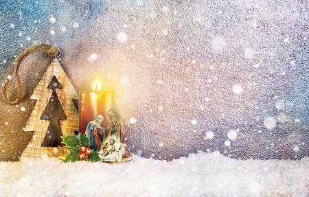 creche: Natividad debajo de la nieve - Feliz Navidad