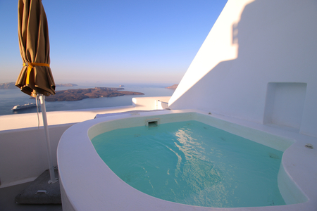 Private jacuzzi with a view on the agean sea Stok Fotoğraf