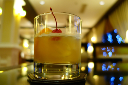 Whisky sour in a beautiful setting of a hotel bar
