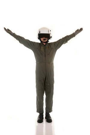Military pilot with white helmet marshaling aircraft on a white background Stock Photo - 7275711
