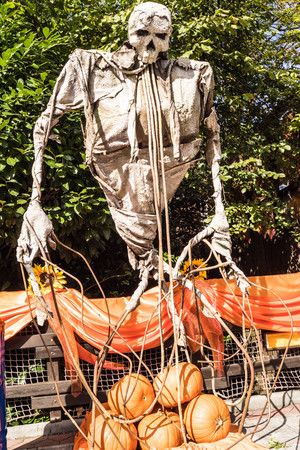 skeleton and pumpkins at lunapark gardaland in verona italy for halloween 2017 Editorial