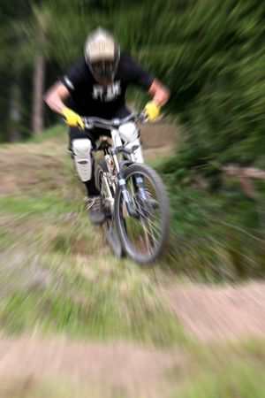 mountain biker with zooming effect Stock Photo - 1350741