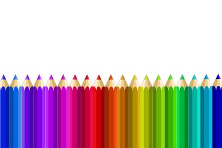 Multi Color pencils set on white background photo