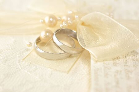 silver wedding anniversary: Wedding Rings with a pearls