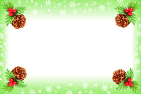 Holly berry and pine cone border as Christmas frame photo