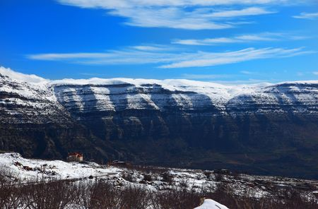 beautiful winter landscape with high mountains photo
