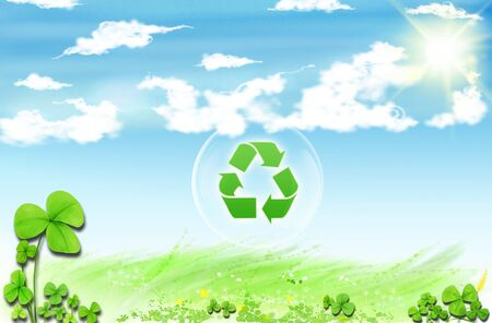 Recycle symbol . Conceptual drawing of planet conservation Stock Photo - 6585738