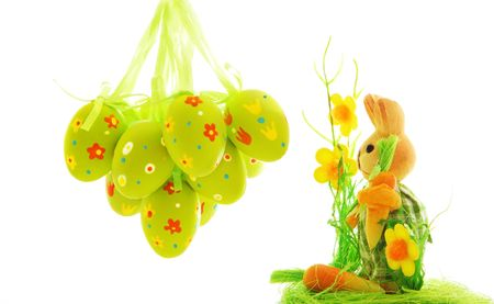 Easter eggs and bunny over white background Stock Photo - 6639767